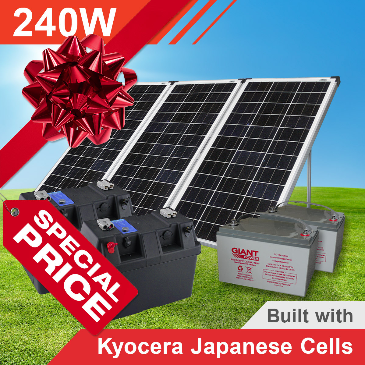 240w Complete Portable Solar Kit With Batteries