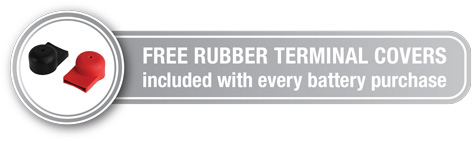 free rubber terminal covers included with every battery purchase