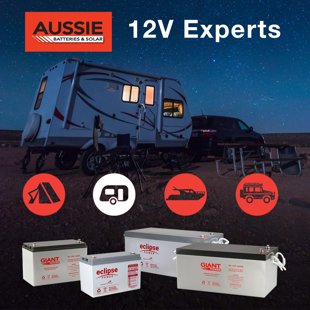 130AH Deep Cycle Battery for Camping