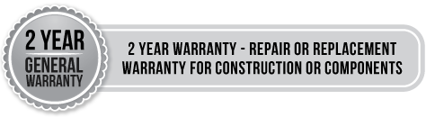 2 year general warranty - 2 year warranty - repair of replacement warranty for construction or components