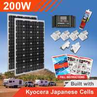 200W 12V Complete DIY Solar Kit (2x100W) with Kyocera Japanese Cells