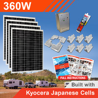 360W 12V Complete DIY Solar Kit (4x90W) with Kyocera Japanese Cells