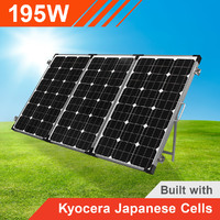 195w 12v Portable Solar Panel Trifold with Kyocera Japanese Cells