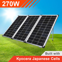 270w 12v Portable Solar Panel Trifold with Kyocera Japanese Cells