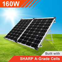 160w 12v Portable Solar Panel with Sharp Solar Cells