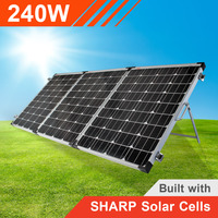 240w 12v Portable Solar Panel Trifold with Sharp Solar Cells