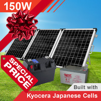 150W Complete Portable Solar Kit with Battery (Kyocera Japanese Cells)