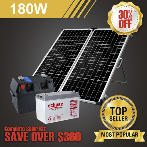 180W Complete Portable Solar Kit with Eclipse Battery (Kyocera Japanese Cells)