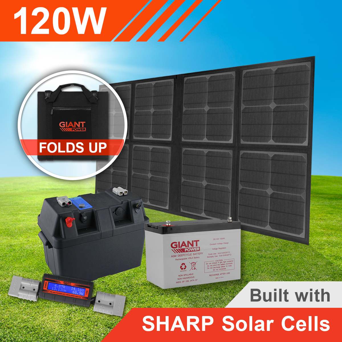 120w Complete Folding Solar Mat Kit With Battery Sharp