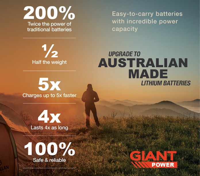Australian Made Lithium Deep Cycle Battery Giant Power