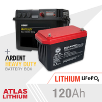 ATLAS 120AH Lithium Deep Cycle Battery + Ardent Battery Box Combo