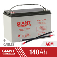 Giant Power 140AH 12V AGM Deep Cycle Battery With 2x 2BNS Cables