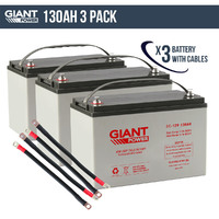 3x 130AH 12V AGM Deep Cycle Battery & Cables