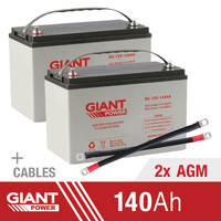 Giant Power 2x 140AH 12V AGM Deep Cycle Battery