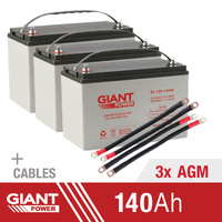 Giant Power 3x 140AH 12V AGM Deep Cycle Battery & Cables