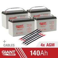 Giant Power 4x 140AH 12V AGM Deep Cycle Battery
