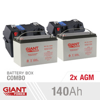 Giant Power 2x 140AH 12V Deep Cycle AGM Powered Battery Box Combo