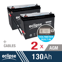 2x 130AH 12V Eclipse AGM Deep Cycle Battery
