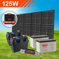 125W Complete Foldable Solar Mat Kit with Dual Batteries