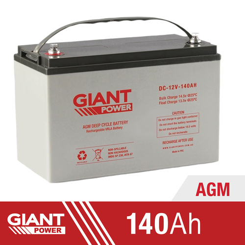 140AH Deep Cycle Battery | Giant Power 140AH 12V AGM Deep Cycle Battery | 140AH AGM Deep Cycle Battery Australia | Deep Cycle Battery | 12V Deep Cycle Battery