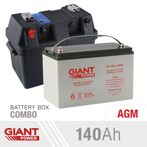140AH 12V Deep Cycle AGM Powered Battery Kit Including AGM Battery and Battery Box Kit for Camping