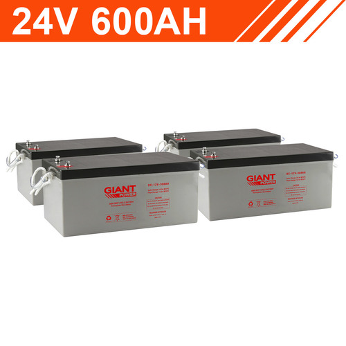 14.4kWh 24V 600AH Giant Power AGM Battery Bank (12V cells)