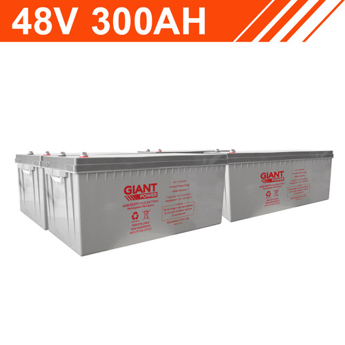 14.4kWh 48V 300AH AGM Battery Bank (12V cells)