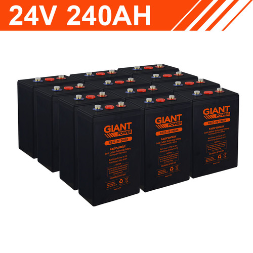 5.7kWh 24V 240AH Carbon Lead Battery Bank (2V cells)
