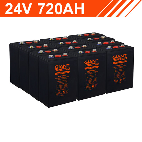 17.2kWh 24V 720AH Carbon Lead Battery Bank (2V cells)